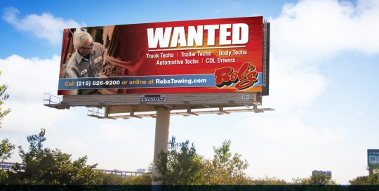 Recruitment outdoor advertising for Rob's Collision in Bristol PA